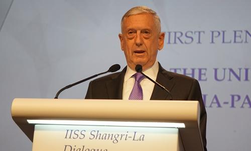 Bộ trưởng Quốc phòng Mỹ James Mattis phát biểu tại Đối thoại Shangri-La ngày 3/6. Ảnh: Trọng Giáp.