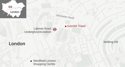 Vị trí tháp Grenfell, London. Đồ họa: CNN.