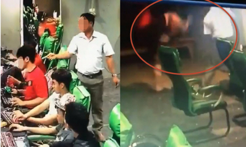 Con trai nhảy lên đạp bố giữa tiệm net vì bị tát