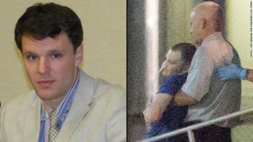 Warmbier trong cuộc họp báo năm ngoái tại Triều Tiên và trong lần trở về Mỹ hôm 13/6. Ảnh: CNN