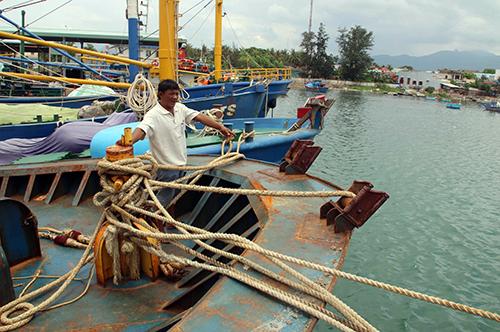 Gần 5 tháng qua, ngư dân Lê Ngô Hát( huyện Phù Cát) thắc thỏm khi tàu nằm bờ ở cảng cá Đề Gi.