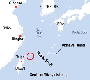 Vị trí eo biển Miyako. Đồ họa: Reuters.