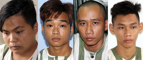 4 trong số 13 nghi can bị bắt. Ảnh: Hồng Tuyết