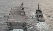 Tàu sân bay trực thăng Nhật lần đầu tập trận xa bờ