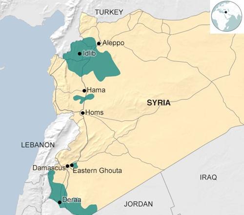Vị trí 4 vùng giảm xung đột ở Syria theo đề xuất của Nga, Iran và Thổ Nhĩ Kỳ. Đồ họa: BBC.