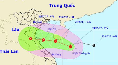 Dự báo đường đi của bão lúc 4h của Trung tâm dự báo khí tượng thủy văn Trung ương.
