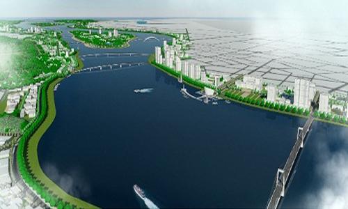 Phối cảnh quy hoạch hai bên bờ sông Trà Khúc. Ảnh: UBND tỉnh Quảng Ngãi.