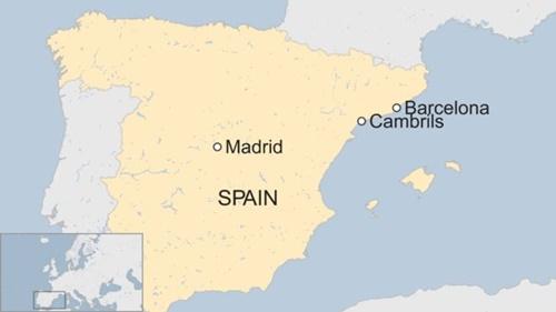 Vị trí thị trấn Cambrils, Tây Ban Nha. Đồ họa: BBC.