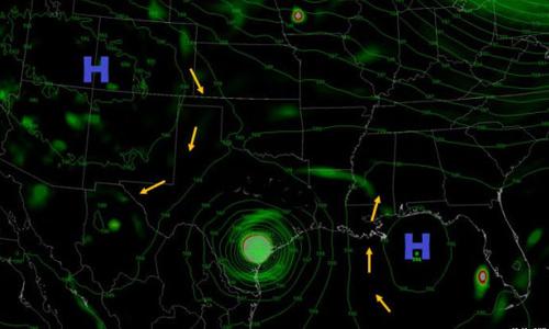 Hai khối áp cao ở xung quanh khiến bão Harvey bị giam chân trong khu vực bờ biển Texas. Ảnh: Weather.gov/NewOrlean.