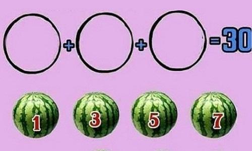 Chọn ba quả dưa hấu nào để tổng của chúng bằng 30?