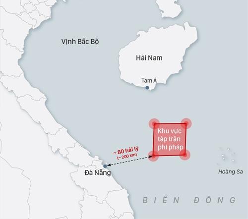 Vị trí Trung Quốc tập trận phi pháp. Đồ họa: Việt Chung.
