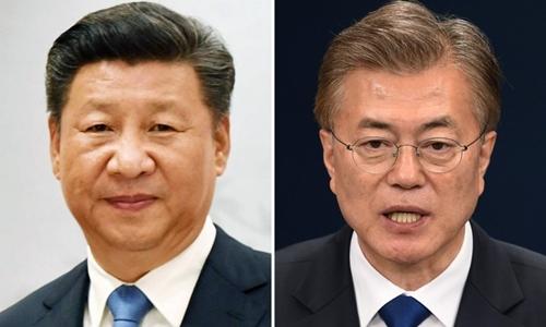 Chủ tịch Trung Quốc Tập Cận Bình (trái) và Tổng thống Hàn Quốc Moon Jae-in. Ảnh: SCMP.