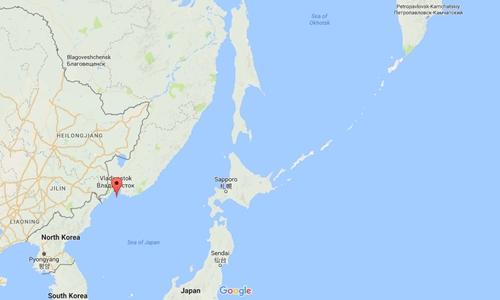 Vị trí Vịnh Peter Đại đế (chấm đỏ) và biển