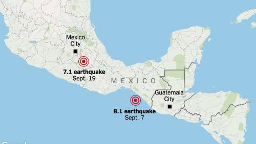 Vị trí tâm chấn hai trận động đất