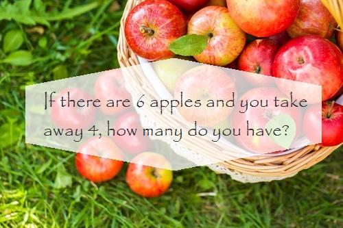 Có 6 quả táo, bạn lấy 4 quả, hỏi bạn có bao nhiêu quả táo?