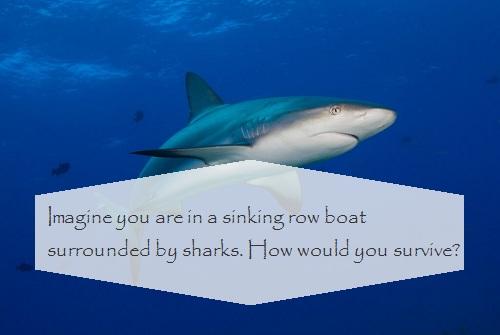 Hãy tưởng tượng, bạn đang chìm thuyền và bao vây bởi đàn cá mập. Làm thế nào để bạn sống sót?