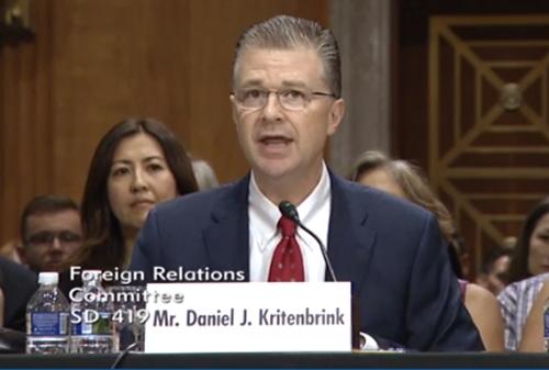 Ông Daniel J. Kritenbrink. Ảnh chụp màn hình:foreign.senate.