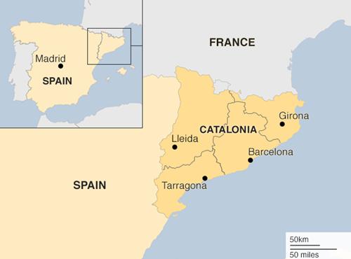 Vị trí vùng Catalan, Tây Ban Nha. Đồ họa: BBC.