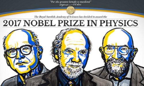 Hình vẽ chân dung ba nhà khoa học đoạt giải Nobel Vật lý 2017. Ảnh: Guardian