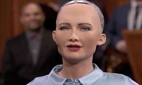Robot giống người phát biểu tại hội nghị Liên Hiệp Quốc