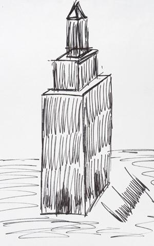 Bức phác họa tòa nhà Empire State ở thành phố New York của Tổng thống Trump. Ảnh: Juliens.