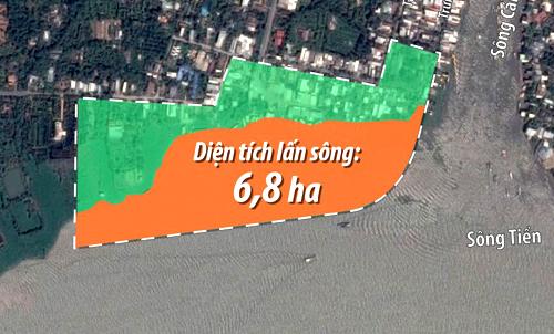 Diện tích lấn sông của công trình gần 7 ha. Ảnh: Lê Huyền.