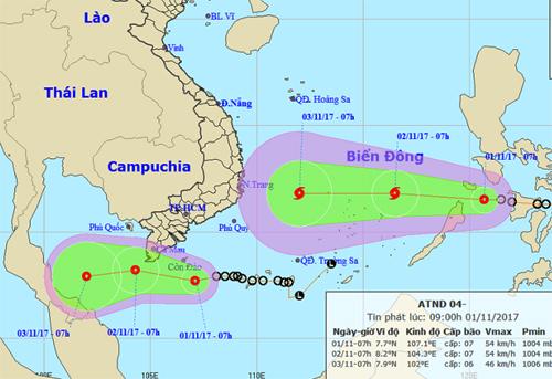 Nam Bộ được đặt trong tình trạng cảnh giác cao khi cả bão và áp thấp nhiệt đới đang hướng vào khu vực này.
