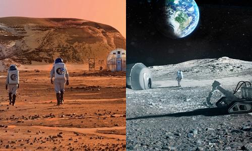 Con người có thể sống trên sao Hỏa và Mặt Trăng trong tương lai. Ảnh: Tech For Space/Outer Places.