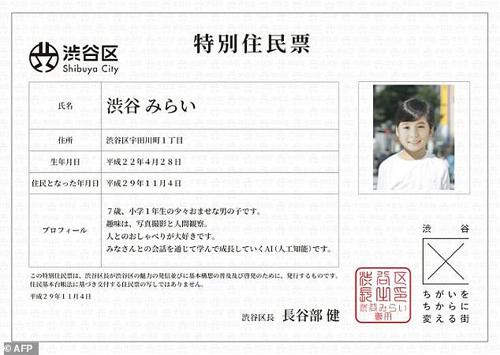 Giấy chứng nhận quyền cư trú của Shibuya Mirai, robot sử dụng trí tuệ nhân tạo. Ảnh: AFP.