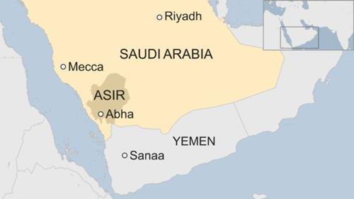 Vị trí Abha, tỉnh Asir, Arab Saudi. Đồ họa: BBC.