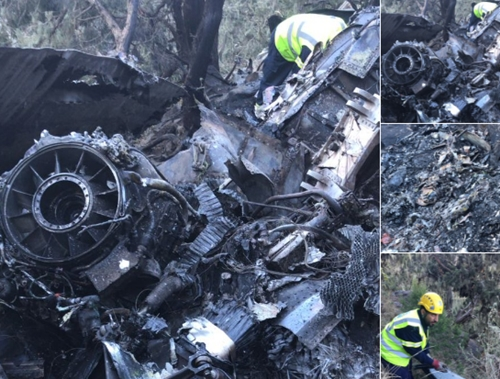Mãnh vỡ của trực thăng gặp nạn. Ảnh: al-Ikhbariya .