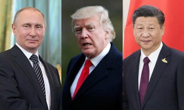 Tổng thống Nga Vladimir Putin, Tổng thống Mỹ Donald Trump và Chủ tịch Trung Quốc Tập Cận Bình. Ảnh: RIA Novosti/Reuters/Xinhua.