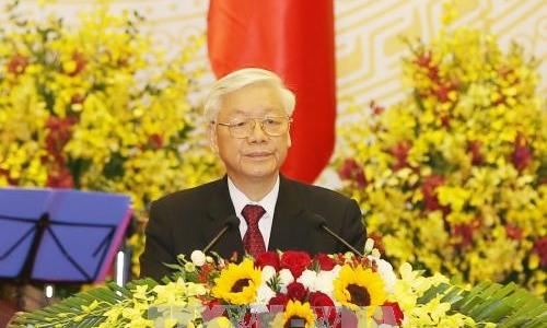 Tổng Bí thư Nguyễn Phú Trọng phát biểu tại tiệc chiêu đãi Chủ tịch Trung Quốc Tập Cận Bình. Ảnh: TTXVN.