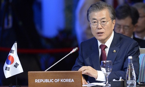 South Korean President Moon Jae-In addresses the 20th Association of Southeast Asian Nations (ASEAN) Plus Three (APT) Commemorative Summit on the sideline of the 31st Association of Southeast Asian Nations (ASEAN) Summit in Manila on November 14, 2017. World leaders are in the Philippines capital for two days of summits.