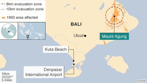Vị trí núi lửa Agung và sân bay
