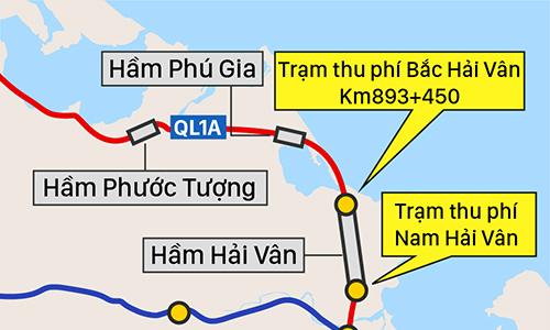 Hai trạm thu phí BOT đặt sát hầm Hải Vân