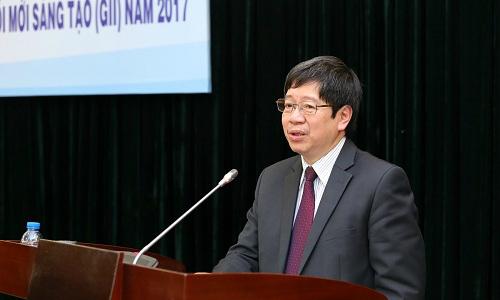 Thứ trưởng Trần Quốc Khánhthông tin về việc triển khai thực hiện Nghị quyết của Chính phủ về chỉ số đổi mới sáng tạo. Ảnh: N.H