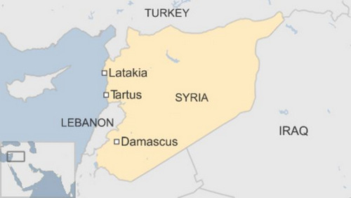 Tartus là quân cảng chiến lược nằm ở phía đông Syria. Đồ họa: BBC.