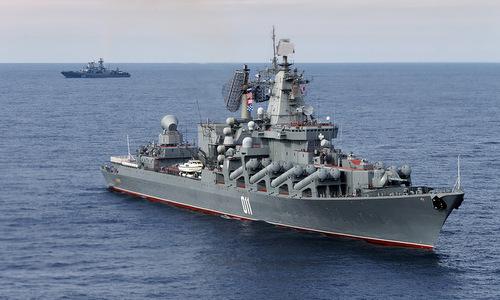 Tàu chiến Nga hoạt động ngoài khơi Tartus. Ảnh: RT.
