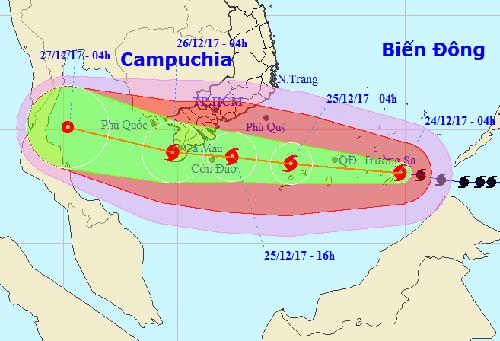 Hướng đi của bão Tembin theo dự báo của Trung tâm dự báo khí tượng thủy văn Trung ương.