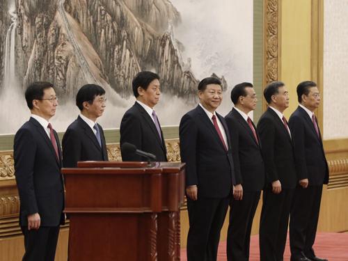 7 thành viên Ủy ban Thường vụ Bộ Chính trị Trung Quốc khóa 19. Ảnh: SCMP.