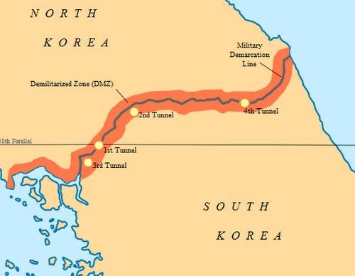 Tuyến DMZ và vị trí 4 đường hầm Triều Tiên bị Hàn Quốc phát hiện. Đồ họa: Wikipedia.
