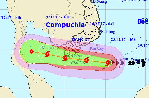 Hướng đi bão Tembin theo dự báo của Trung tâm dự báo khí tượng thủy văn Trung ương.