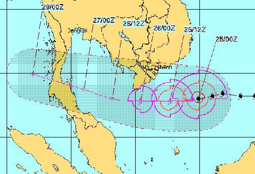Đường đi của bão Tembin theo dự báo của Hải quân Hoa Kỳ.