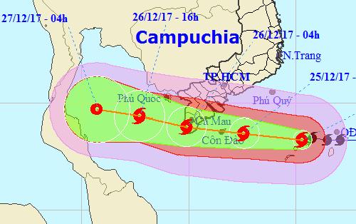 Hướng đi của bão Tembin theo trung tâm khí tượng thủy văn trung ương.