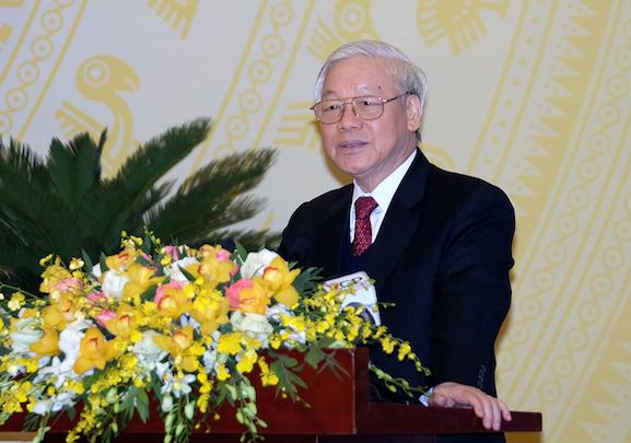 Tổng bí thư Nguyễn Phú Trọng phát biểu tại Hội nghị. Ảnh: VGP/Quang Hiếu