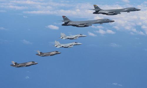 Máy bay Mỹ phô diễn sức mạnh trên bán đảo Triều Tiên. Ảnh: US Air Force.