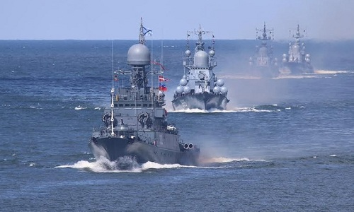 Các tàu chiến thuộc hạm đội Baltic của Nga. Ảnh:Sputnik.