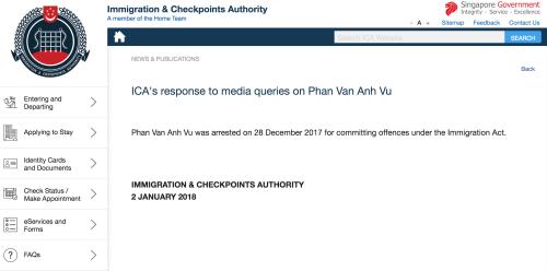 Singapore xác nhận đang tạm giữ người mang tên 'Phan Van Anh Vu'