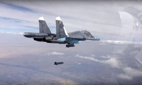 Máy bay Nga không kích phiến quân tại Syria. Ảnh: RT.